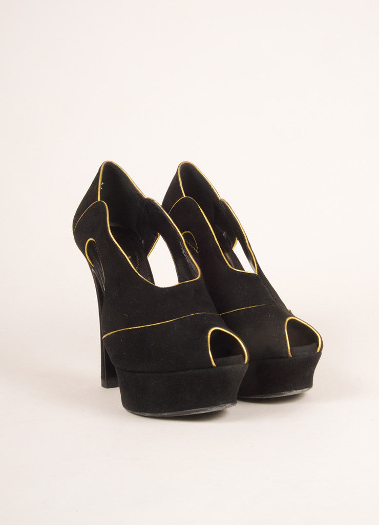 Yves Saint Laurent Black and Gold Suede Leather Platform Pumps Frontview