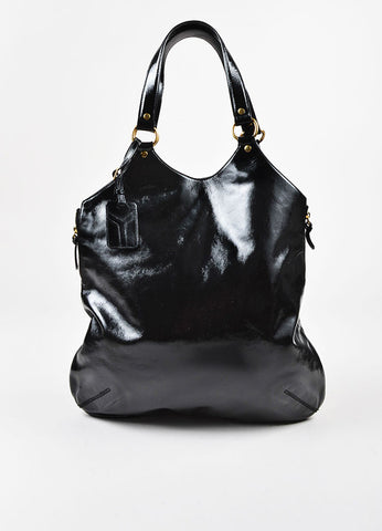 "Yves Saint Laurent Black Patent Leather ""Tribute"" Tote Bag Frontview"
