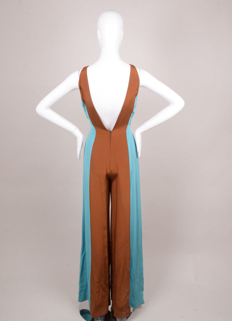 Lorenzo Riva Couture Blue and Brown Color Block Sleeveless Silk Jumpsuit Backview