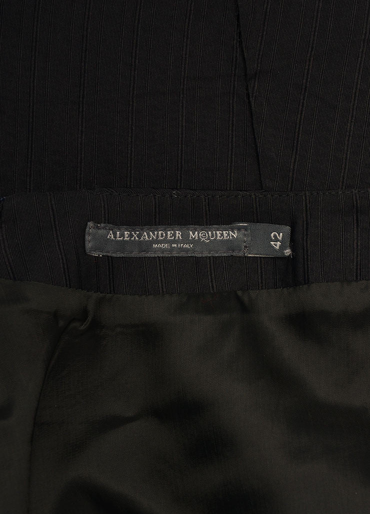 Alexander McQueen Black Silk Pinstripe Pintuck Pleated Pencil Skirt Brand