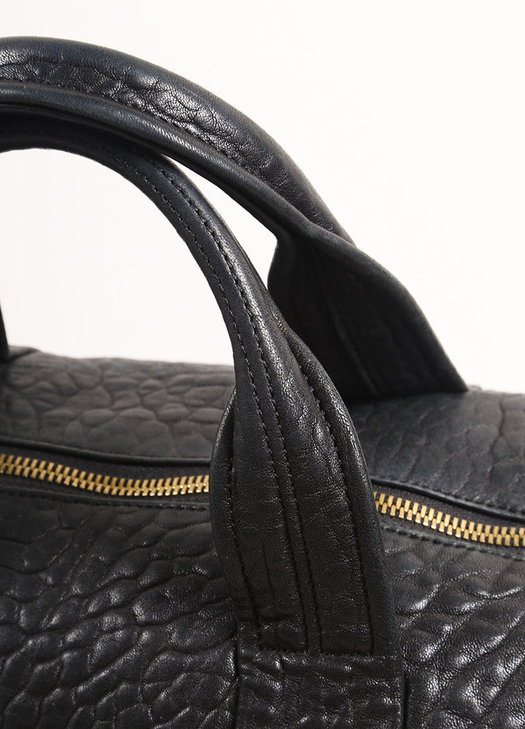 "Alexander Wang Black Pebbled Leather Gold Toned Studded ""Rocco"" Duffel Bag Detail 2"