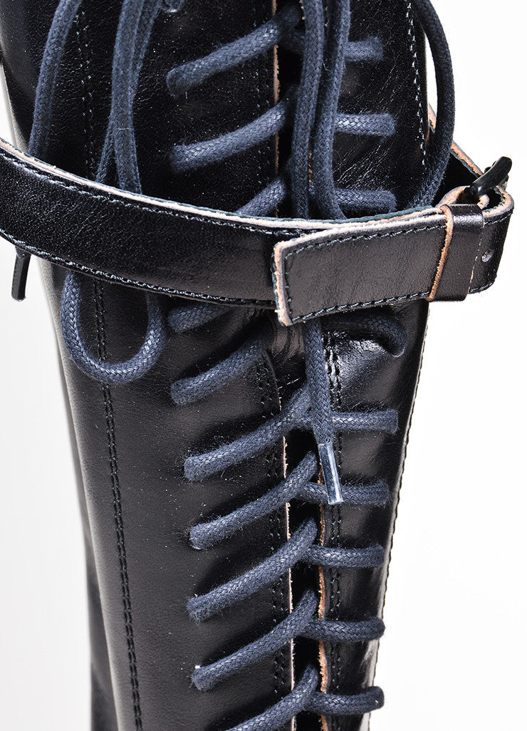 Black Ann Demeulemeester Leather Lace Up Knee High Combat Boots Detail