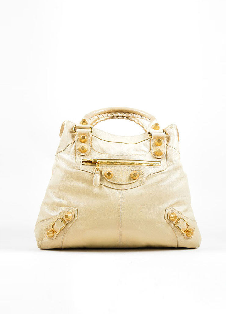 "Beige Leather Balenciaga ""Motocross Giant Brief"" Bag Frontview"
