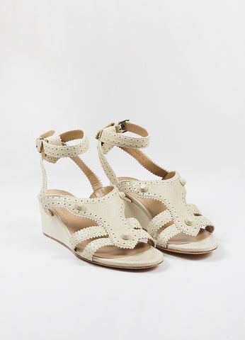 "Balenciaga Beige Distressed Leather Classic Covered ""Brogue"" Wedge Sandals Frontview"