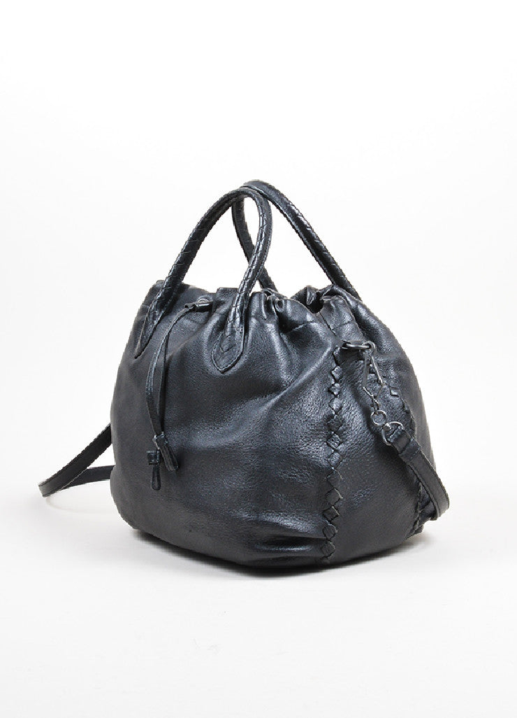 "Black Bottega Veneta ""Intrecciato"" Crossbody Bag Side"