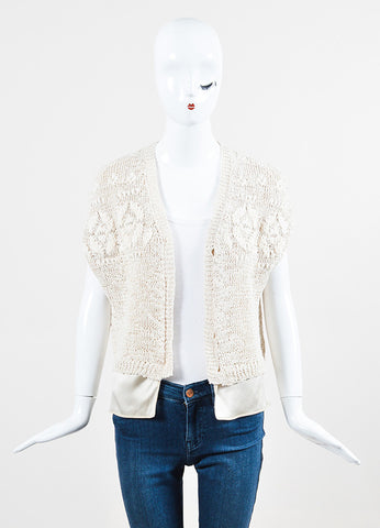 Brunello Cucinelli Cream Crochet Silk Layered Button Beaded Cardigan Vest Frontview