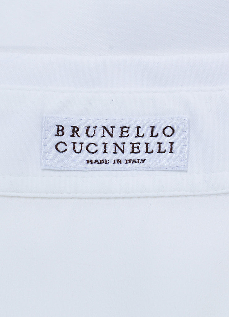White and Silver Toned Brunello Cucinelli Tie Button Up Sleeveless Blouse Brand