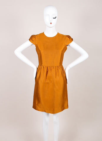 Burberry New With Tags Burnt Orange Silk and Wool Blend Metallic Cap Sleeve Dress Frontview
