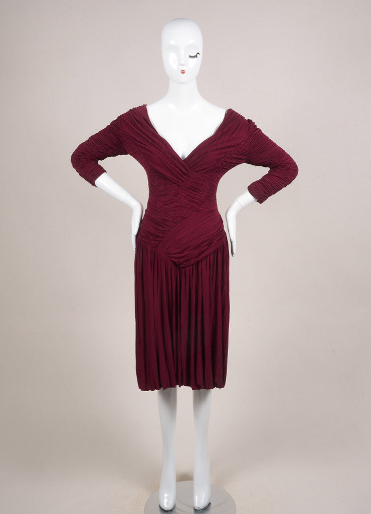 Burberry Prorsum New With Tags Burgundy Jersey Ruched Pleated Crop Sleeve Dress Frontview