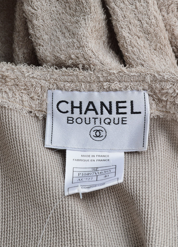 Chanel Taupe Terry Chenille Open Front Sweater Brand