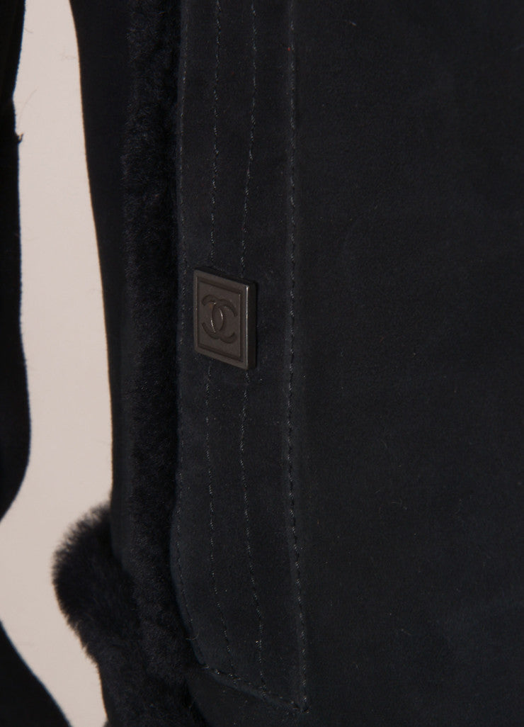 Chanel Black Suede Leather Fur Trim Long Sleeve Coat Detail