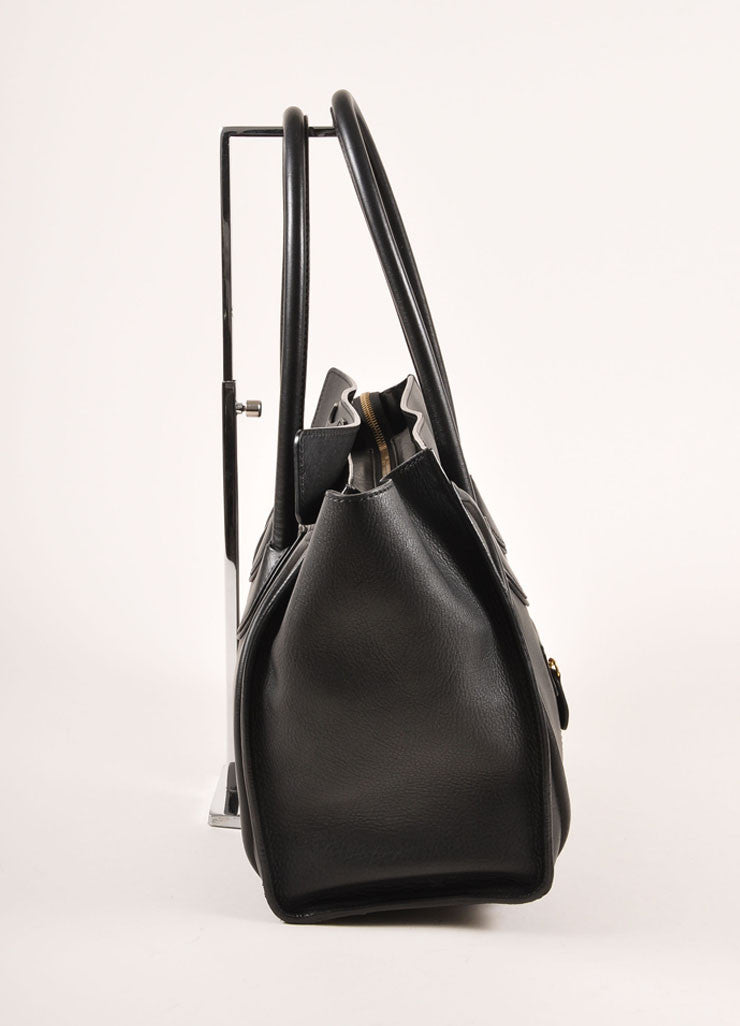 "Celine Black Leather ""Luggage"" Shopper Tote Bag Sideview"