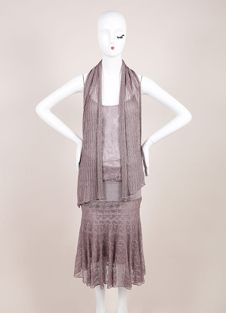 Chanel Metallic Silver and Lavender Knit Sleeveless Dress and Scarf Set Frontview