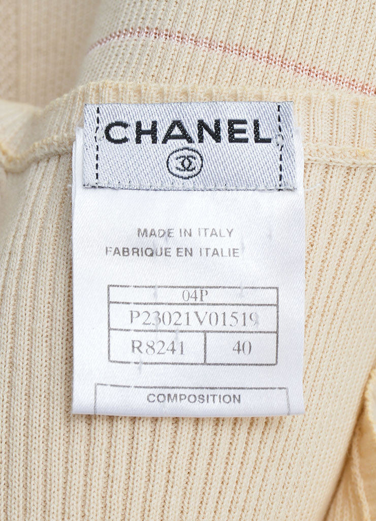 "Chanel Cream and Pink Cotton Blend Knit ""CC"" Sheer Sleeveless Shell Top Brand"