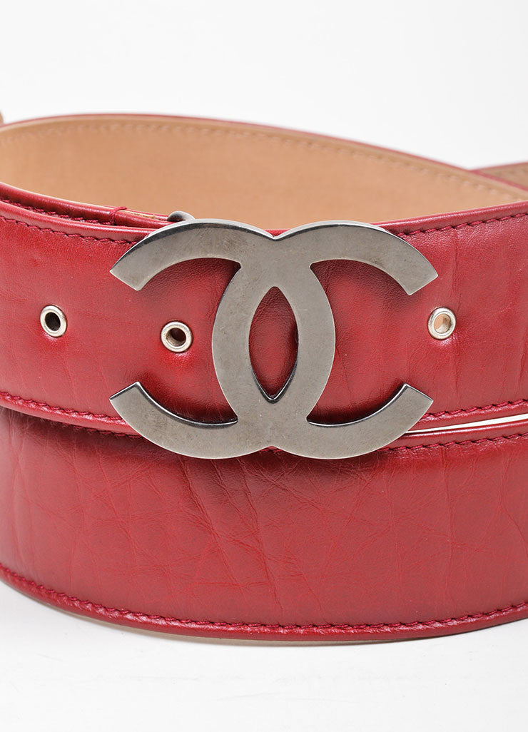 Red and Silver Toned Chanel Leather Charm Embellished 'CC' Buckle Belt Detail