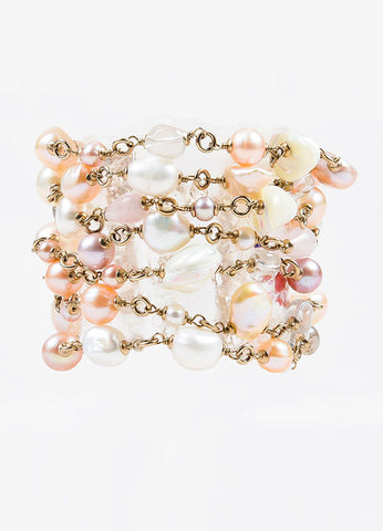 Chanel Gold Toned and Pink Faux Pearl Beaded Multi Strand 'CC' Bracelet Frontview