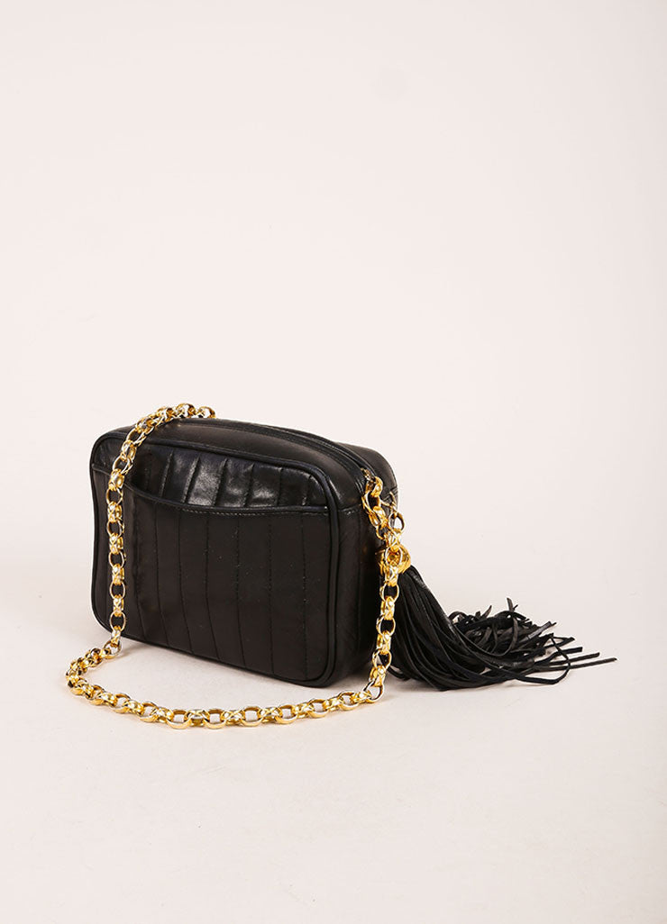 Chanel Black Quilted Leather Tassel Gold Toned Chain Camera Bag Sideview