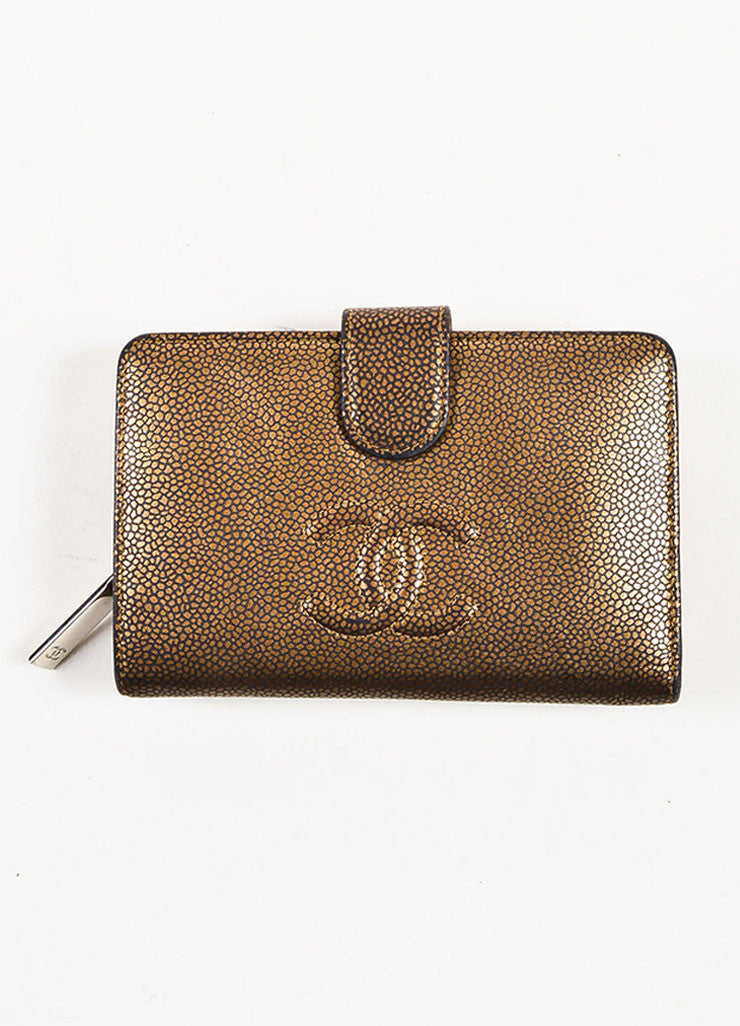 "Chanel Black and Brown Stingray Pattern Leather 'CC' Logo ""L-Zip Pocket Wallet"" Frontview"