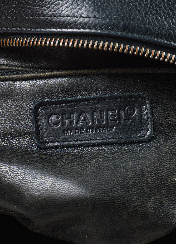 Chanel Black Leather Quilted Stitched Script Patent Top Handle Bowler Bag Brand