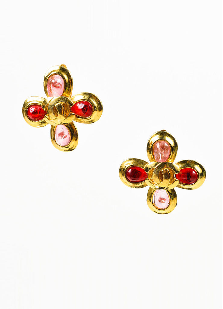 Gold Toned, Red, and Pink Gripoix Stone Chanel 'CC' Logo Flower Clip On Earrings Frontview