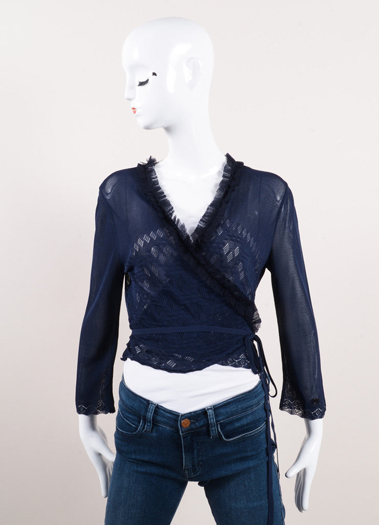 "Chanel Navy Blue Knit Tulle Ruffle Trim ""CC"" Logo Wrap Tie Cropped Sweater Frontview"