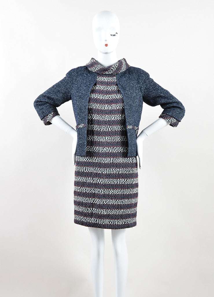 Chanel Red, White, and Blue Wool Blend Tweed Striped Dress and Attached Jacket Frontview