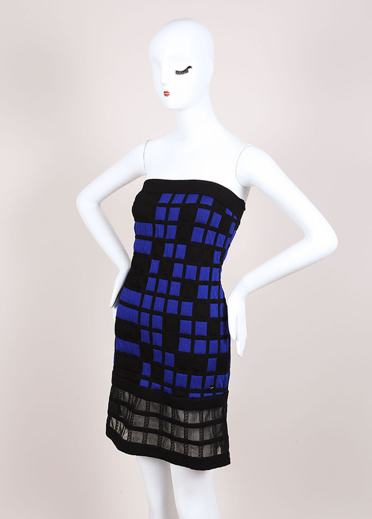 Chanel Blue and Black Knit Checkered Color Block Mesh Trim Strapless Dress Sideview