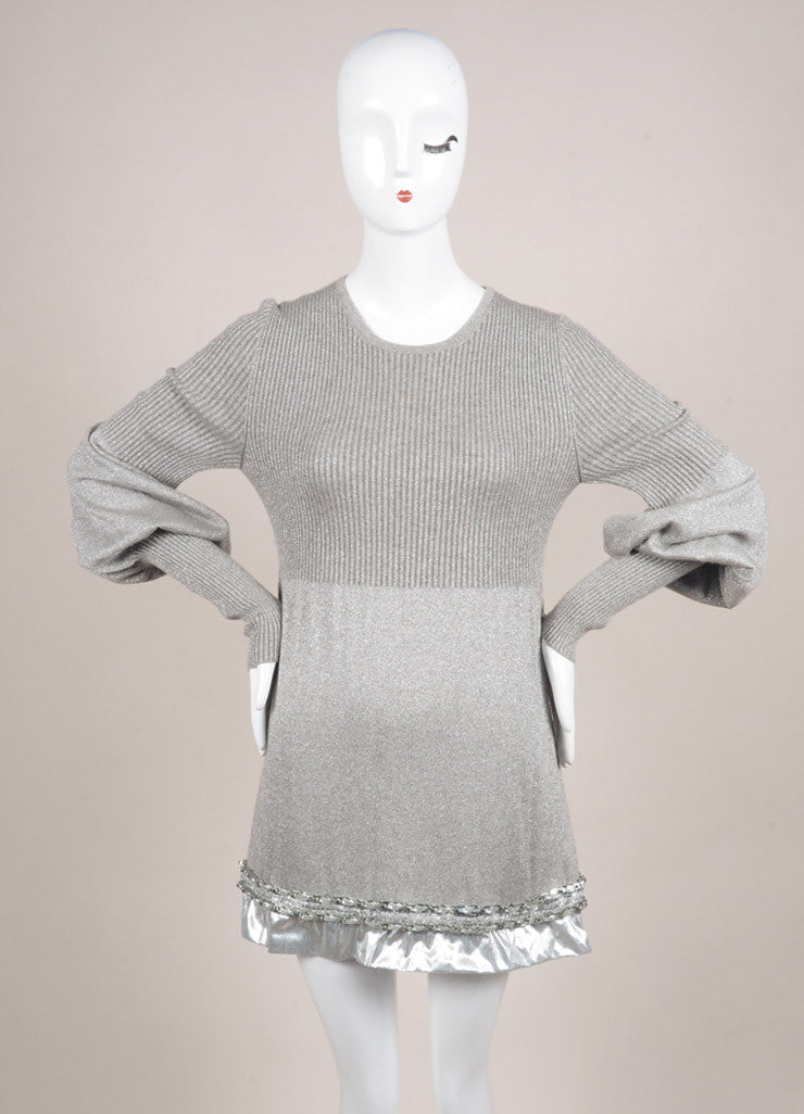 Chanel Silver Metallic Ribbed Knit Chain Link Trim Long Sleeve Sweater Dress Frontview