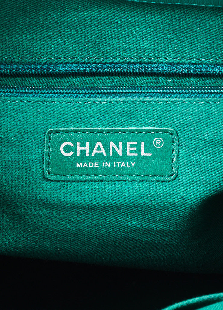 "Chanel Teal Leather Perforated Quilted ""Up in the Air"" Chain Handle Tote Bag Brand"