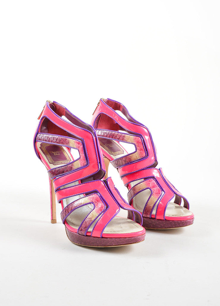 Christian Dior Pink and Purple Lizard and Patent Leather High Heel Cage Sandals Frontview