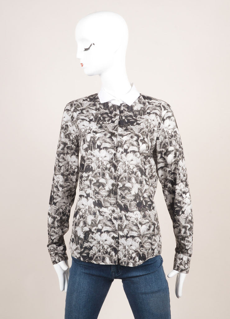 Dries Van Noten Black and White Cotton Palm Tree Print Button Down Long Sleeve Top Frontview