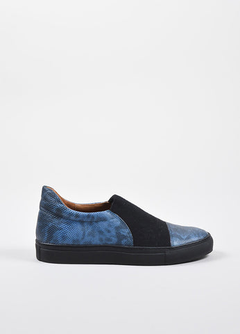 Dries Van Noten Blue and Black Lizard Embossed Leather Canvas Skate Sneakers Sideview