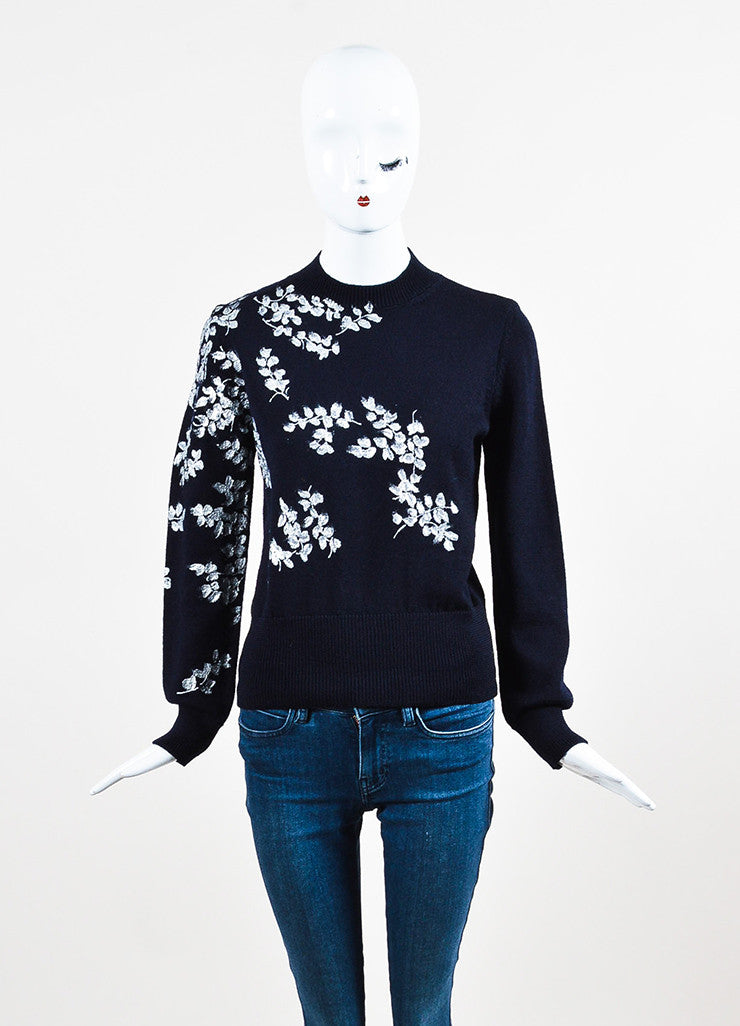 Dries van Noten Navy Blue and Metallic Wool Painted Flower Sweater Frontview