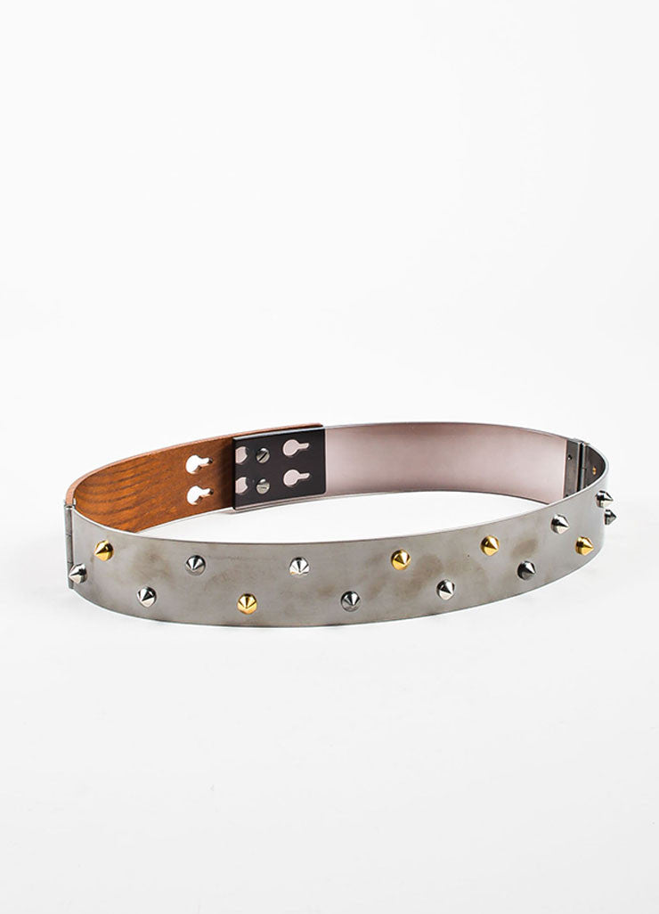 Brown and Silver Fendi Mixed Media Spike Studded Waist Belt Side