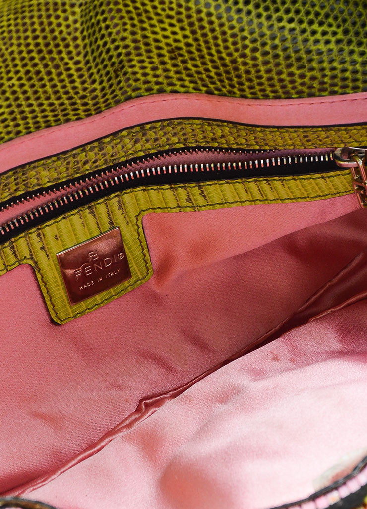 Black, Green, and Pink Fendi Lizard Skin Beaded and Embroidered Baguette Shoulder Bag Interior