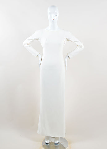 Gianni Versace Cream Silk Open Back Long Sleeve Gown Front