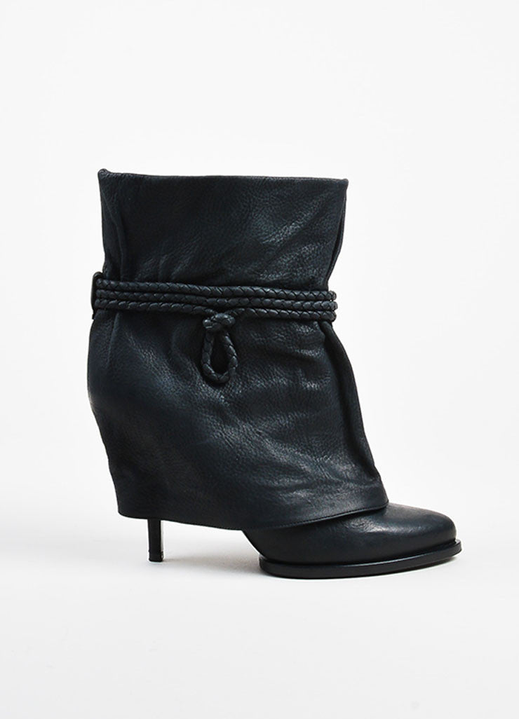 Givenchy Black Leather Fold Over Cord Wrap Heeled Booties- side