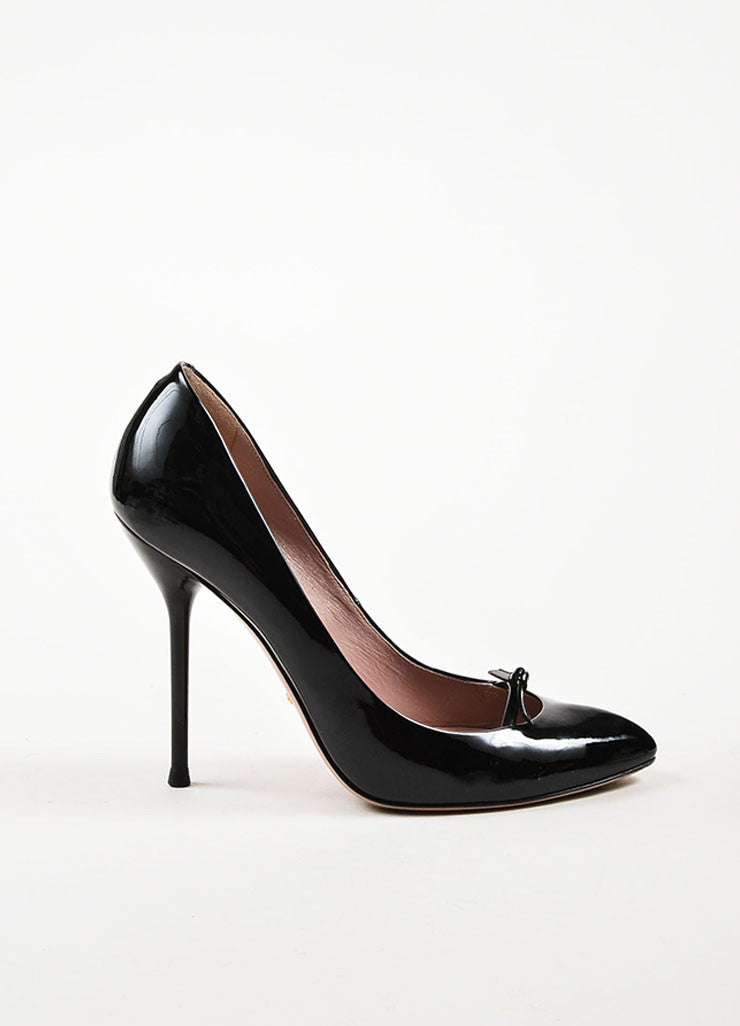 Gucci Black Patent Leather Bow Detail Pointed Toe Stilettos Sideview
