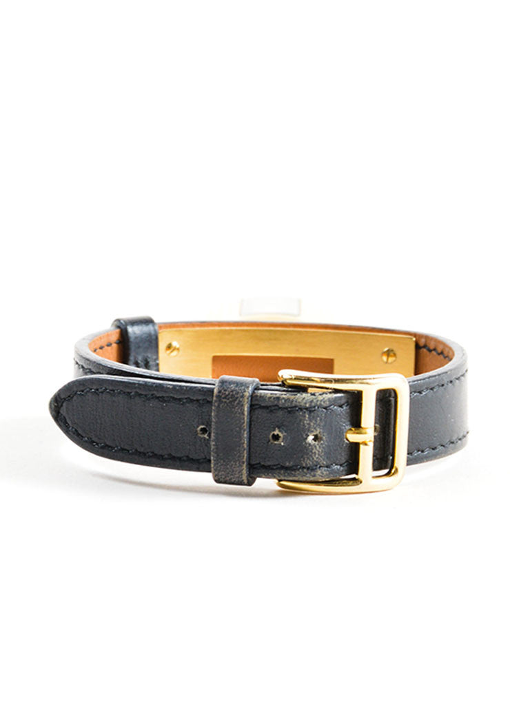 "Hermes Black and Gold Plated Steel Barenia Leather Padlock ""Kelly"" Watch Backview"