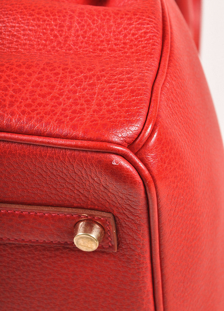 "Hermes Red and Gold Toned ""Rouge Garance"" Buffalo Skipper Leather 35cm Birkin Bag Detail 2"