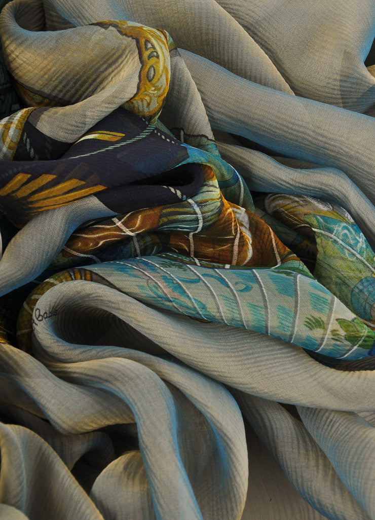 Hermes Grey, Black, and Green Silk Chiffon Equestrian Print Scarf Detail