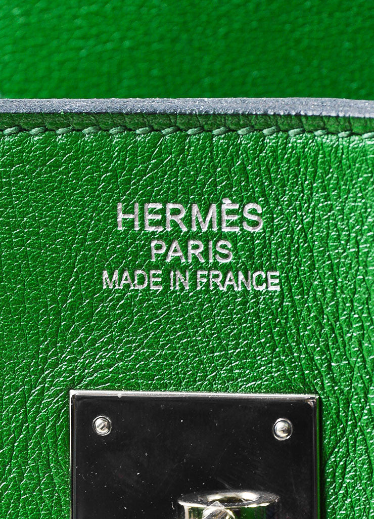 "Hermes Green SHW ""Vert Bengale"" Veau Swift Leather 35 cm ""Birkin"" Bag Brand"