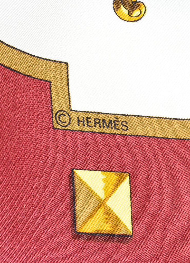 "Maroon, White, and Gold Hermes ""Les Cles"" Key Print Silk Square Scarf Brand"