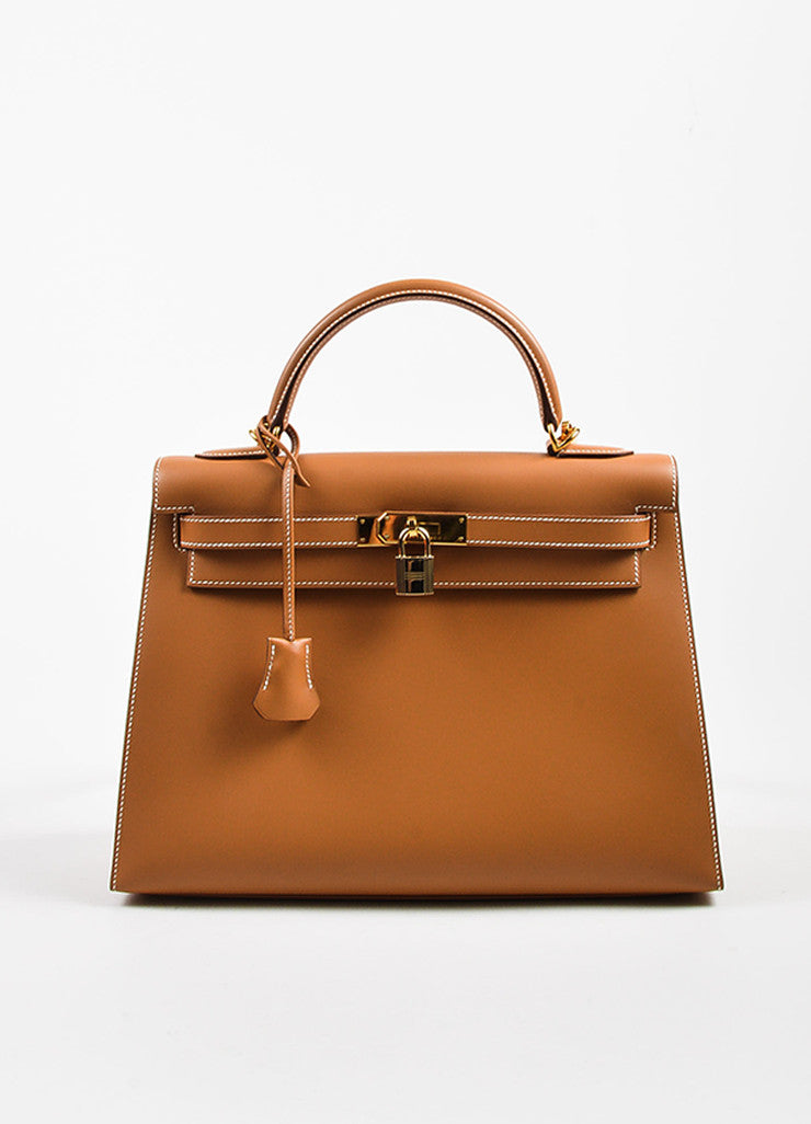 "Hermes Natural Tan Chamonix Leather Gold Toned Hardware ""Kelly 32cm"" Bag Frontview"
