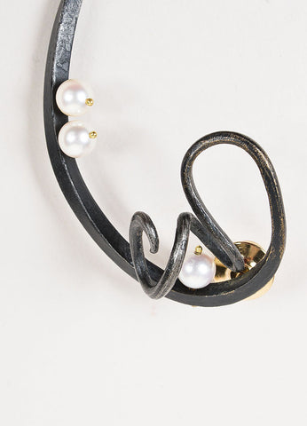 Jaclyn Davidson 14K Gold, Black Carbon Steel, and Pearl Twisted Sculptural Brooch Detail