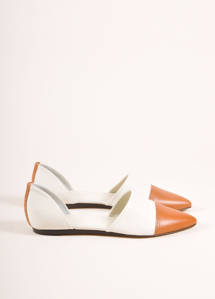 Jenni Kayne New In Box White and Cognac Leather D'Orsay Pointed Toe Flats Sideview