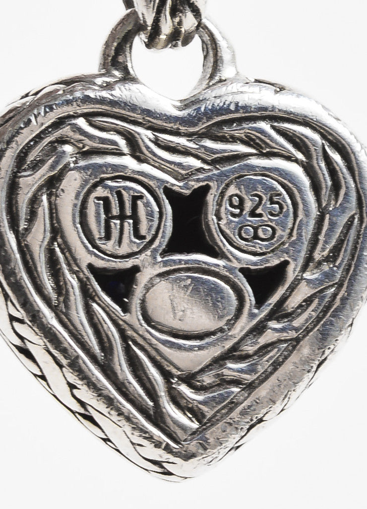 John Hardy Sterling Silver & Black Sapphire Heart Shaped Necklace Brand