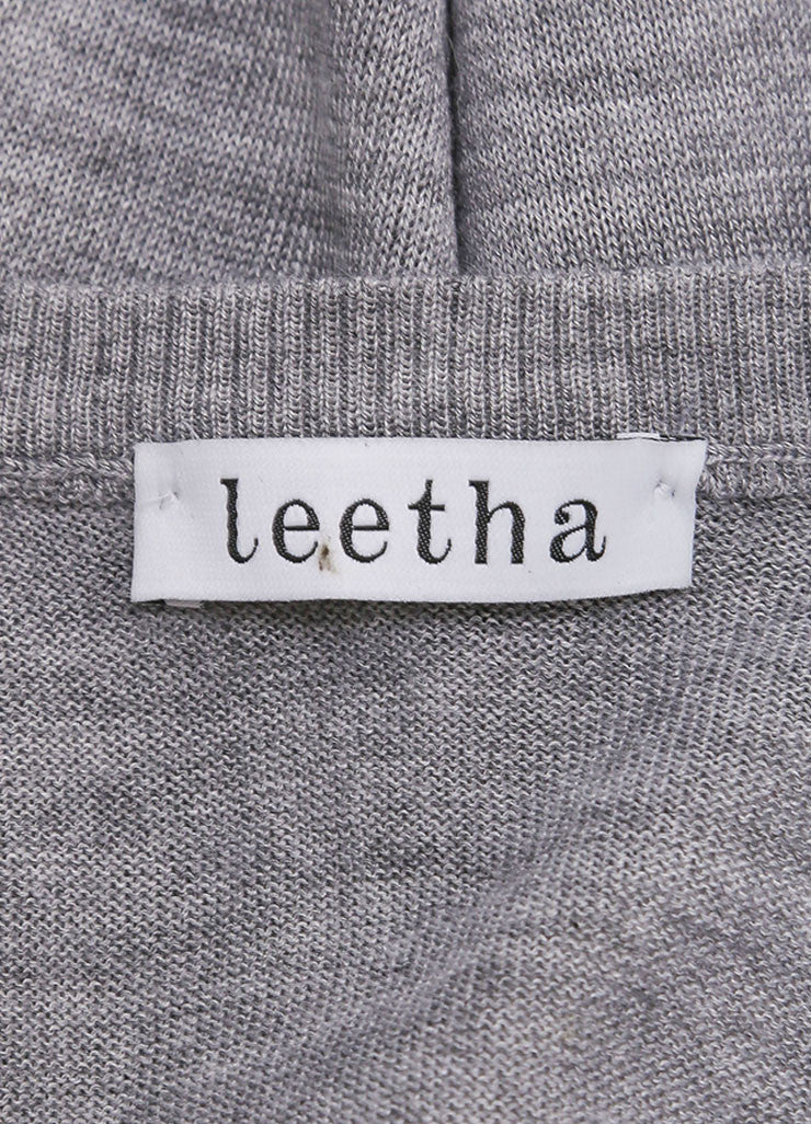 Leetha New With Tags Grey and White Paneled Cashmere and Silk Knit Cap Sleeve Sweater Brand