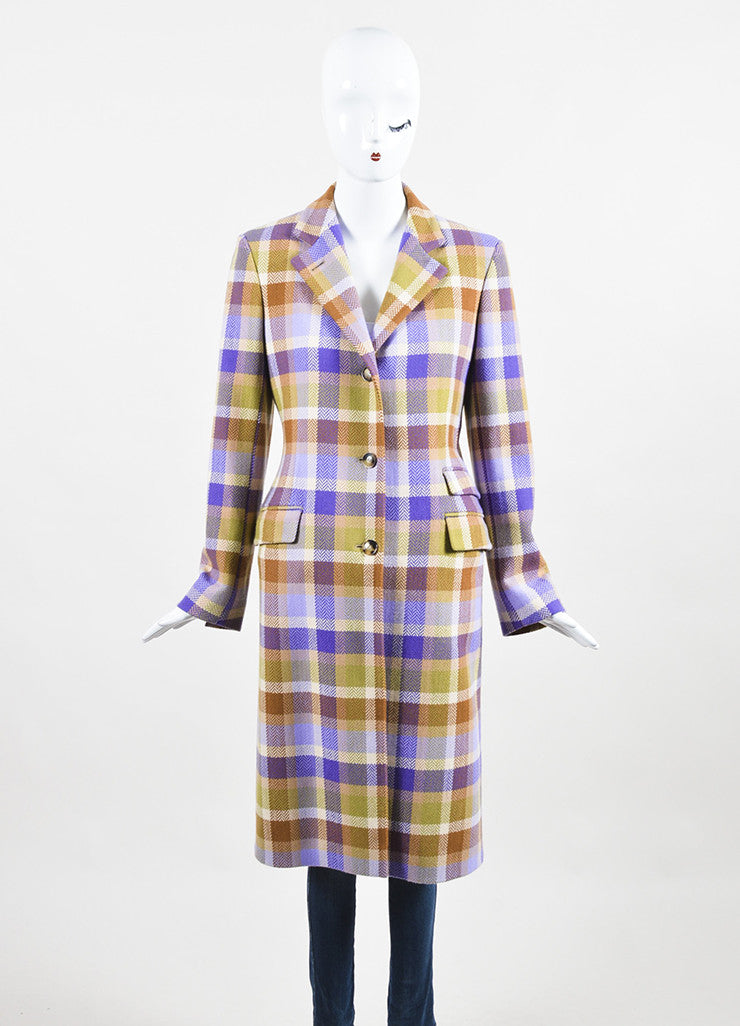 Loro Piana Tan, Purple, and Green Wool Chevron Plaid Button Up Coat Frontview 2