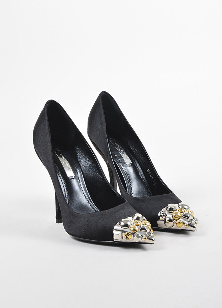 Louis Vuitton Black Silver and Gold Toned Satin Studded Pointed Cap Toe Pumps Frontview